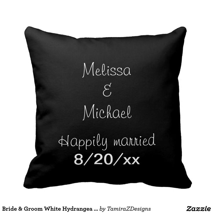 Bride & Groom White Hydrangea Reversible Throw Pillows.  Front of Pillow has Gorgeous Creamy White Hydrangea.  Back of Pillow has solid black background with the wording Happily Married (PERSONALIZE by inserting  Bride and Groom's First NAMES and Wedding DATE).  Choose your material and size Throw Pillows.  Original Photography design by TamiraZDesigns via:  www.zazzle.com/tamirazdesigns*