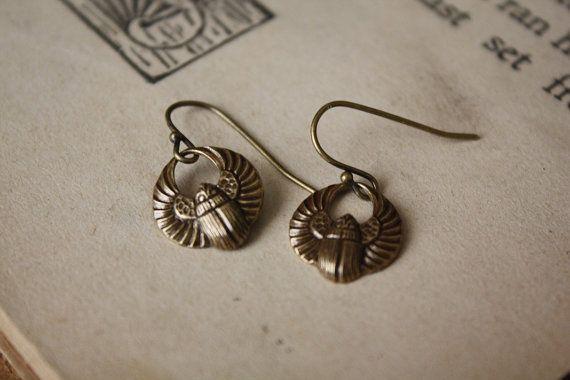 Scarab Earrings by spacepearls on Etsy, $12.00