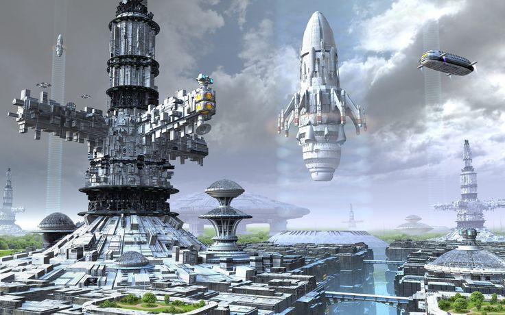 Sci Fi Spaceport  Spaceship Wallpaper