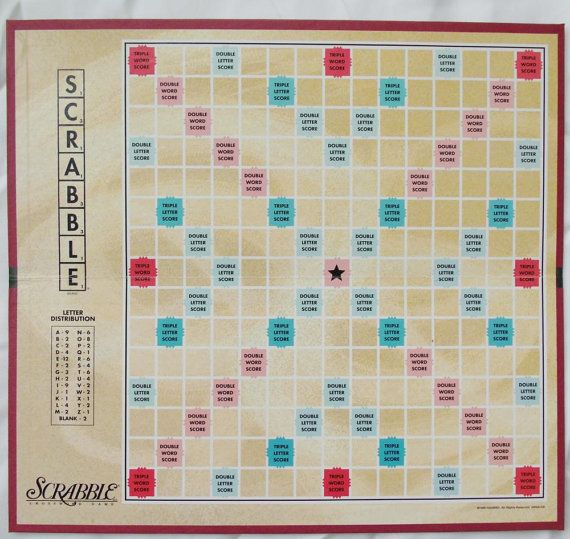Scrabble Game Board Vintage 1999 by PaperCreationsbyDeb on Etsy, $7.00
