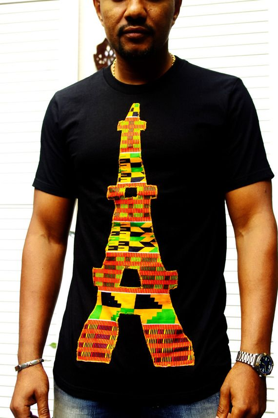 "Tshirt noir homme customisé en tissu wax africain motif ""Tour Eiffel"""