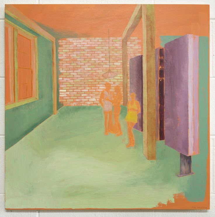 Kate Small, Te Rauparaha Arena, 2014, Oil on board, 700 x 700mm (Framed). From the exhibition, Field (13 September - 4 October 2014)