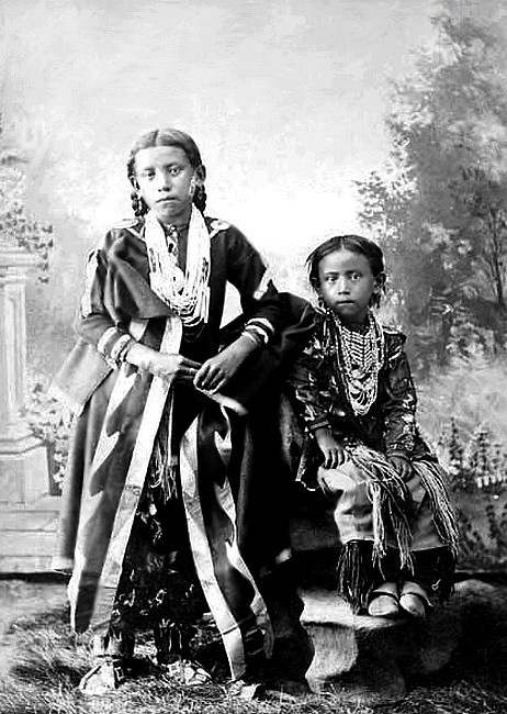 Ponca children traditional regalia, Arkansas City, Kansas. Photographed: ca. 1892. - University of Washington Libraries, Special Collections Division.