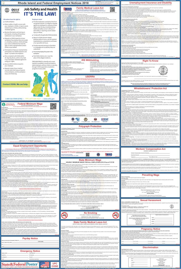 Rhode Island State and Federal Labor Law Poster 20172018