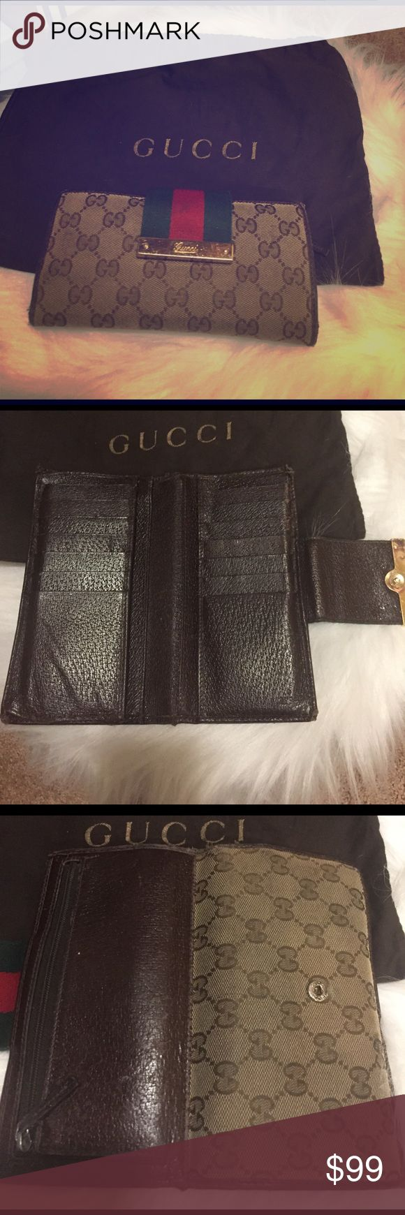 Gucci GG Web Canvas Wallet This Gucci GG Web Canvas Wallet was purchased at The Gucci Store in Las Vegas at The Forum Shops at Caesars Palace. Wallet does have signs of wear. It is used. It comes with Gucci Dust bag. Gucci Bags Wallets