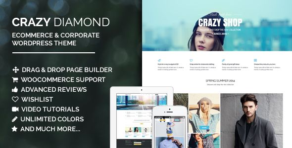 Crazy Diamond - Ecommerce & Corporate Theme   http://themeforest.net/item/crazy-diamond-ecommerce-corporate-theme/8042458?ref=damiamio             Search in header  Alternative header layout (demo.lollum /crazydiamond/alternative-header/)  Optional layout for the checkout page (demo.lollum /crazydiamond/checkout/?layout=alternative)  Products Carousel block  Open project videos in a lightbox    Looking for a corporate template? Check this example page in the demo: demo.lollum…