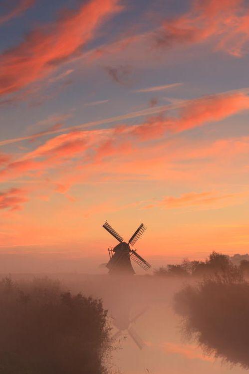 Dutch windmill underneath Dutch sky.  // Premium Canvas Prints & Posters // www.palaceprints.com // STORE NOW ONLINE!