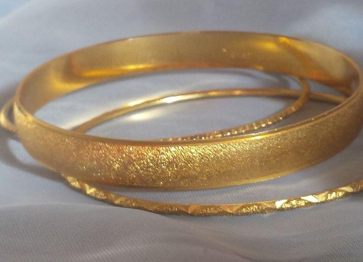 Vintage Signed CROWN TRIFARI L Golden Bangle Bracelet Set 3 Designer Fashion LOT #Trifari #Bangle