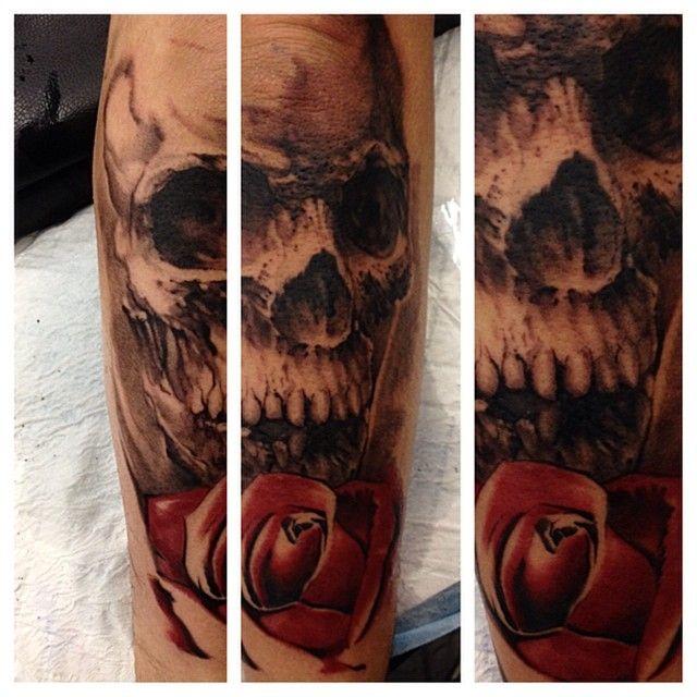 Skull Tattoo by Angus Wood at LDF Tattoo Marrickville, Sydney, NSW. #tattoo #sydneytattoo #skulltattoo #ldftattoo #rosetattoo