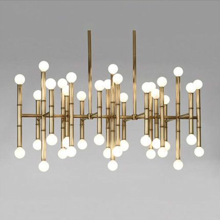 Jonathan Adler Meurice Rectangular Chandelier Bamboo Droplight Light bronze color designer home table lighting