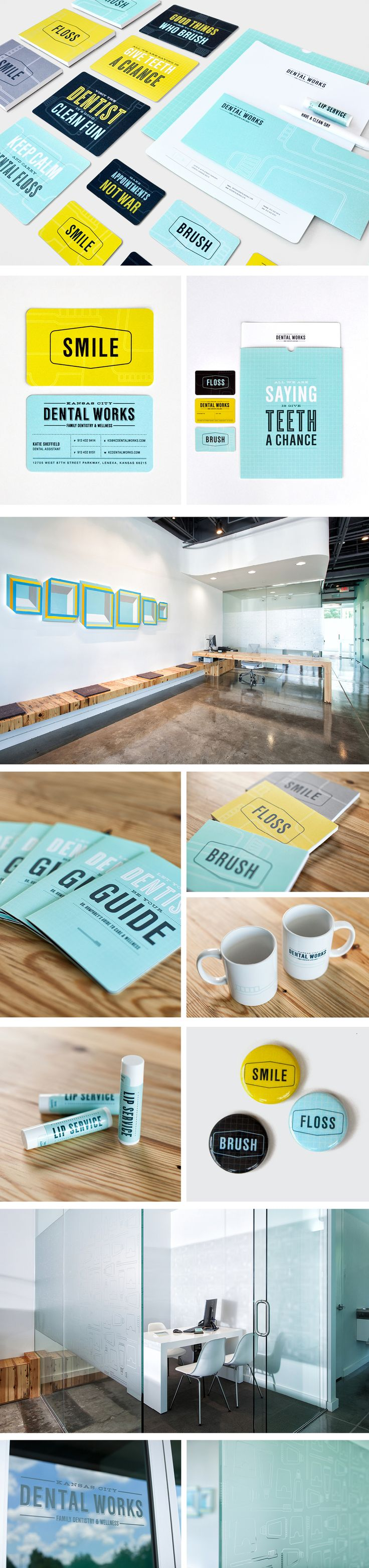 KC Dental Works | Branding Copywriting Design Signage Typography | Design Ranch - Branding CHARTRUSE, navy, grey and aqua