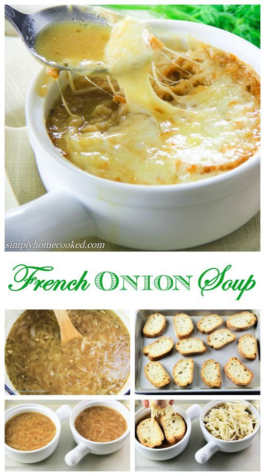 Caramelized onions in a rich and flavorful broth, topped with toasted bread and a whole lot of baked cheese!