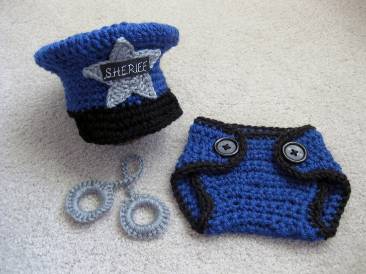 Policeman Hat And Diaper Cover With Handcuffs Sheriff