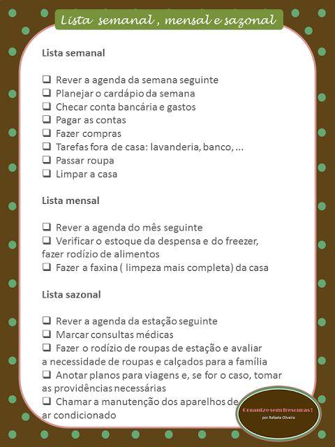 Organize sem Frescuras!: Listas de tarefas para se manter organizado