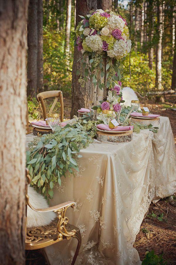 enchanted forest wedding reception idea #princesswedding #enchantedwedding #fancyweddingdecor http://www.weddingchicks.com/2014/01/27/princess-bride-wedding-inspiration/