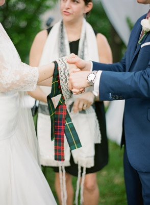 Celtic handfasting ceremony with family clan tartans and lace | Photo: KT Merry