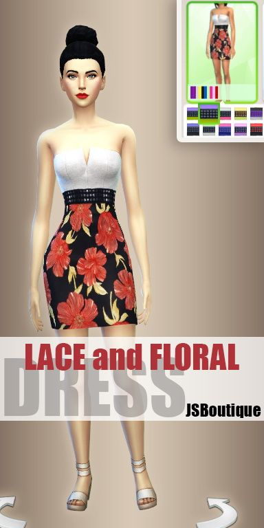 Sims 4 Updates: Lace and Floral Dress at JSBoutique