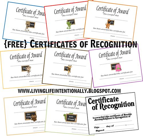 Living Life Intentionally Free Certificates Of Recognition Print It Pinterest Printable And Student Volunteer