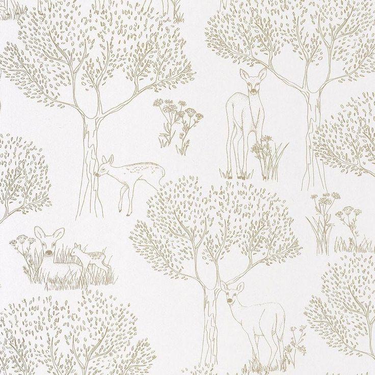 Tapet med rådyr / bambier, guld på hvid