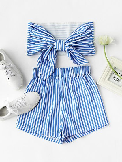 Stripe Bow Tie Back Strapless Crop Top With Shorts Mobile Site
