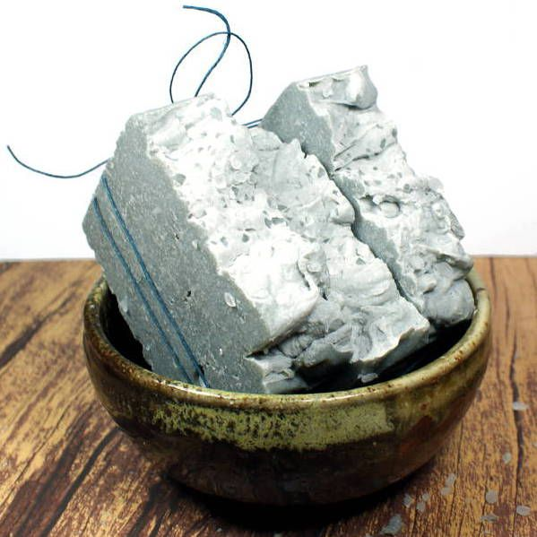 Cedarwood Sage Scented Homemade Black Clay and Sea Salt Soap - This natural homemade black clay and sea salt soap is made with ingredients that include Australian black clay and fine sea salt for a luxurious spa like experience in the shower! Buy it or DIY now from Rebecca's Soap Delicatessen.
