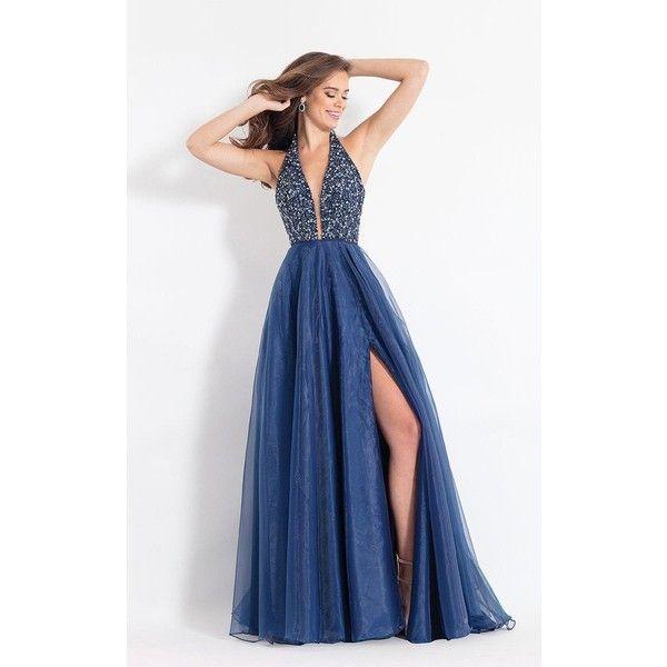 Rachel Allan 6187 Evening Dress Long Halter Sleeveless (3.750 NOK) ❤ liked on Polyvore featuring dresses, formal dresses, navy, blue formal dresses, long slit dress, long prom dresses and long navy blue dress