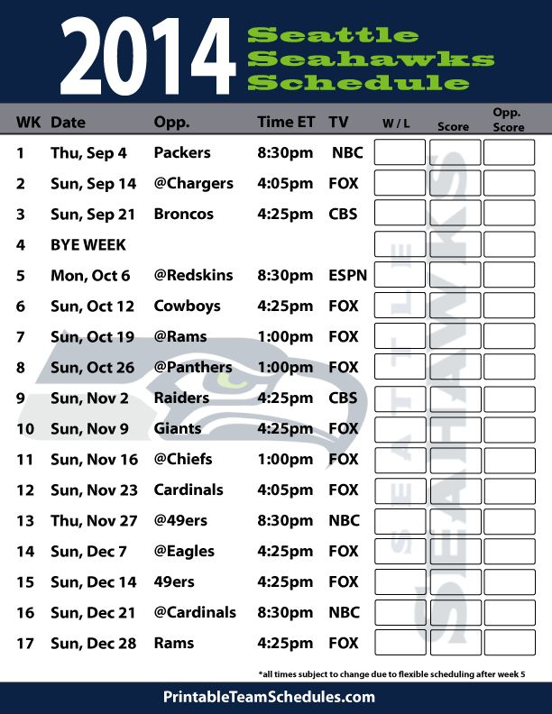 2014 Seattle Seahawks Schedule - Printable