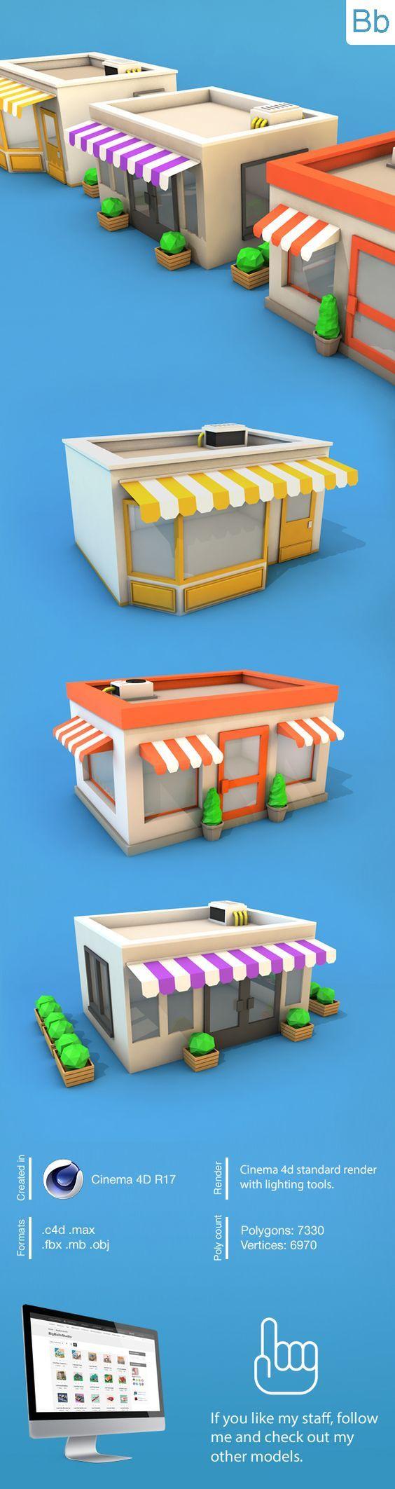 Low Poly Buildings Pack Download 3D Model(s) Formats: max, maya, c4d, blend, fbx, obj