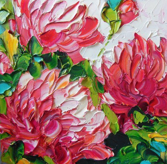 $65 Oil Painting Original Impasto Deep Pink by IronsideImpastos, $65.00