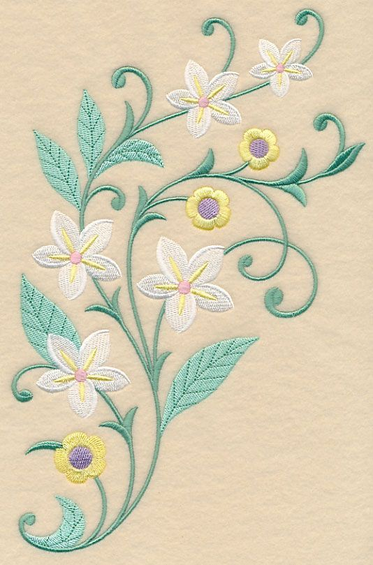 Greenery and Blossoms Spray | Vintage Embroidery Patterns ...