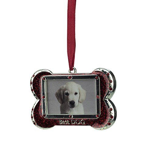 Felices Pascuas Collection 3 inch Regal Shiny Silver-Plated Red inch Best DOG inch Bone Picture Ornament with European Crystals