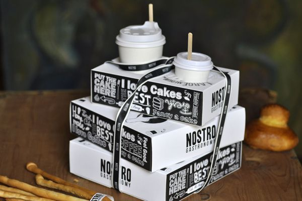 The boxes have a place to put baked items inside with the coffee so the food stays warm! Nostro by Eva Bakacs, via Behance #packaging