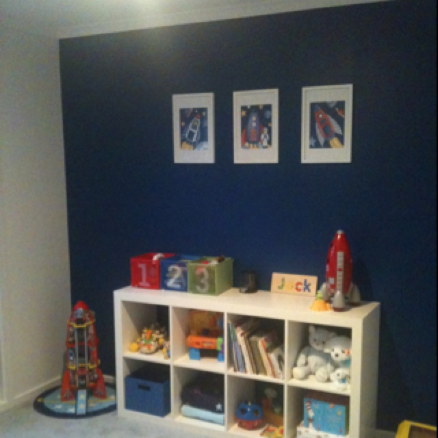 Jacks new space themed bedroom blue feature wall with for Bedroom feature wall ideas