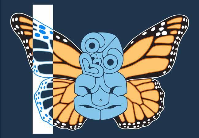 Brad Novak: Tiki with Danaus Plexippus Wings.   Printmaking. Colours. Contrasts.