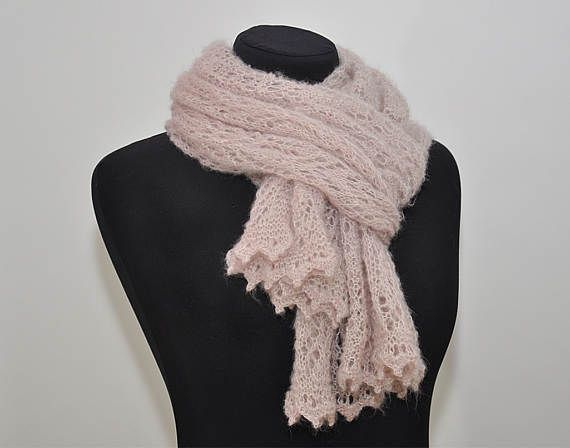 Blush pink long scarf knitted lace scarf beige pink wedding shawl light pink scarf Mothers Day gift bridal shawl lace mohair soft scarf  ! This listing - sold only a scarf, pin sold separately.  >Color: blush beige pink  >Material: kid mohair / polyamide  >Dimensions: width ~ 19 inches ( ~ 50 cm) length ~ 59 inches ( ~ 150 cm)  >Care: gentle care, hand wash in warm water with mild soap, press into dry towel, lie flat to dry. Do not iron! --------------------------------------...