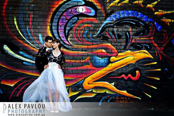 Melbourne wedding photography - Red Scooter Melbourne - Graffiti wall - Photography by Con Tsioukis of Alex Pavlou Photography - www.alexpavlou.com.au