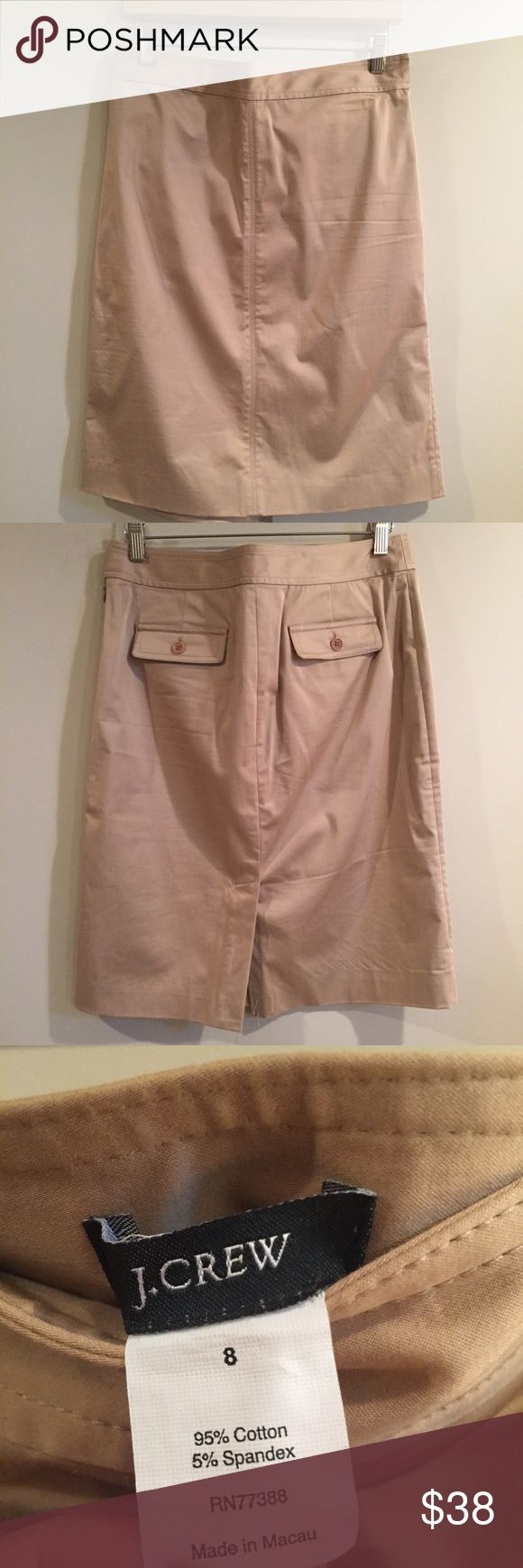J. Crew Pocket Double Serge Cotton Pencil Skirt New Condition Khaki Pencil Skirt J. Crew Skirts Pencil