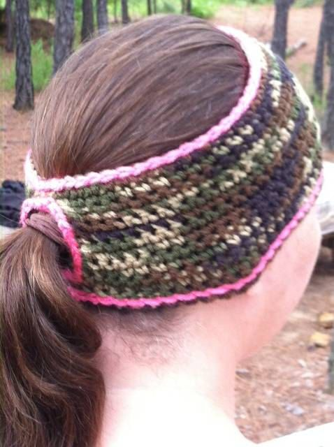 Check out this item in my Etsy shop https://www.etsy.com/listing/174530798/ponytail-camo-pink-ear-warmer-headband
