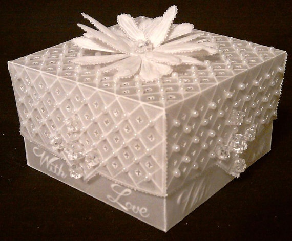 Handmade Parchment Paper Gift Box with Pearls
