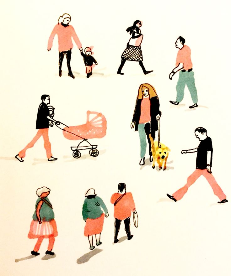 On the move by Marie Åhfeldt, Mås Illustra. www.masillustra.se #illustration #pink #people #masillustra