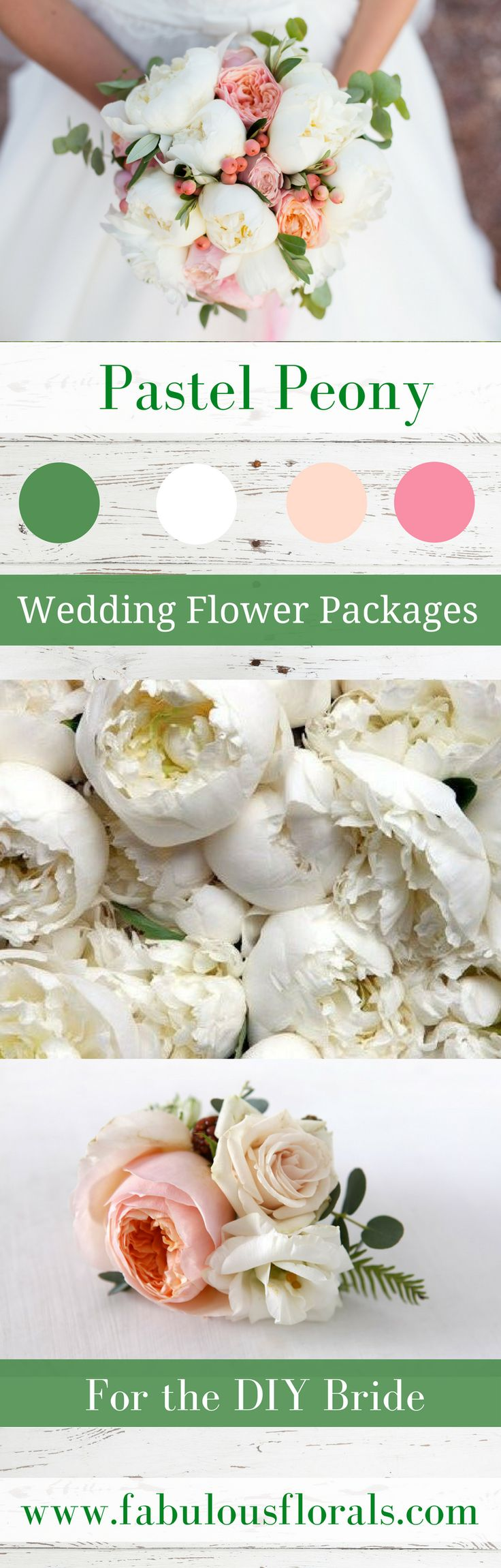 Wedding Trends! DIY Wedding Flower Packages for the DIY Bride! Pretty Pastel Peony Palette. Easy How To Tutorials and instructions on www.howtodiyweddingflowers.com #weddingtrends #weddingpackages #weddingflowers
