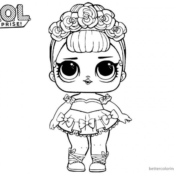 LOL Surprise Coloring Pages Sugar Queen Kitty drawing