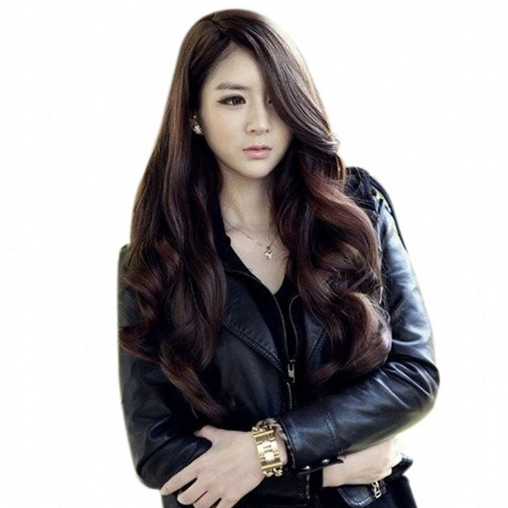 Long length 70cm central parting black brown ladies synthetic hair wig,cheap kanekalon fibre long wavy hair wig peruca