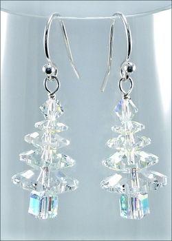 Winter Crystal Swarovski Christmas Tree Earrings   Jewelery Project Kit   Ha…