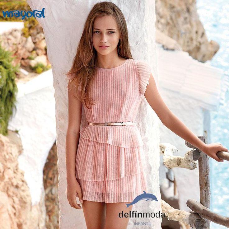 Vestido de niña de juvenil MAYORAL plisado rosa palo