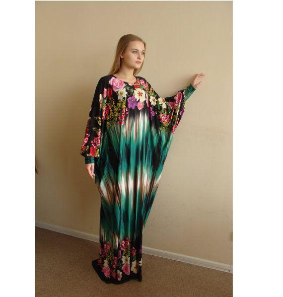 Floral Maxi Dress Plus Size, Prayer dress, Farasha Caftan,Green Boho dress, Muslim dress, abaya Dress,Modern hijab, Burqa, Namaz salat dress