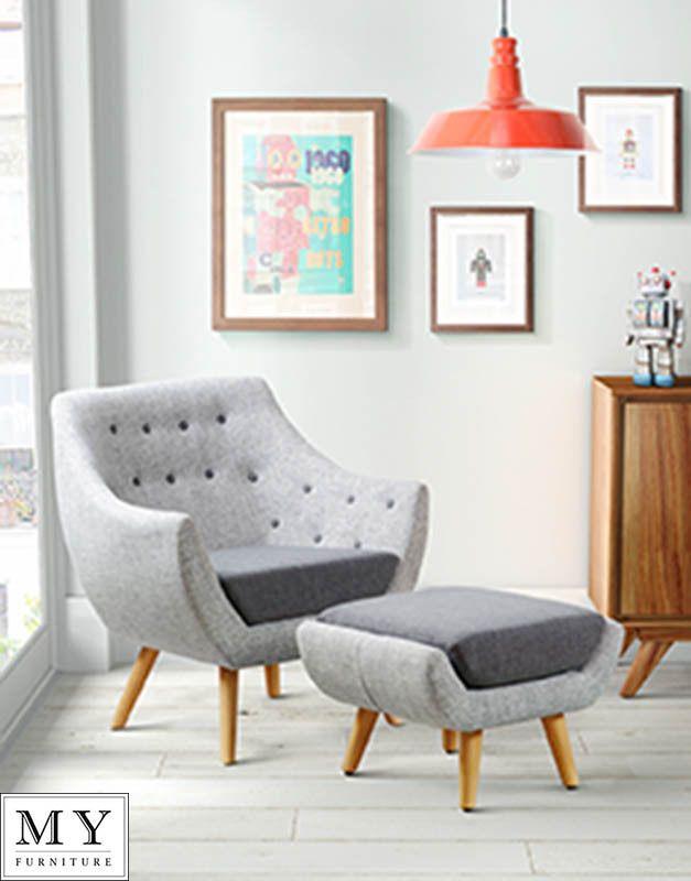 Poet  Retro Set of buttoned Armchair & Stool -