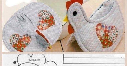 ARTESANATO COM QUIANE - Paps,Moldes,E.V.A,Feltro,Costuras,Fofuchas 3D: Molde pegador de panela em forma de galinha