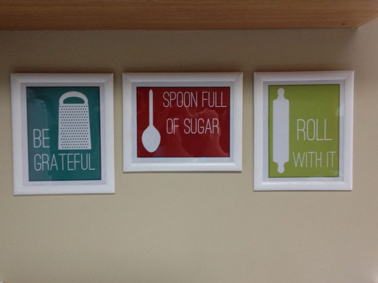 I found the printables at http://www.overthebigmoon.com/fun-kitchen-printables/ sent them to Walmart Photo online to be printed onto photo paper then bought frames at the dollar store, spraypainted them white, and added the prints.  They're now hanging in my kitchen and look so cute! Total cost was less than $7 each (printing, frame)