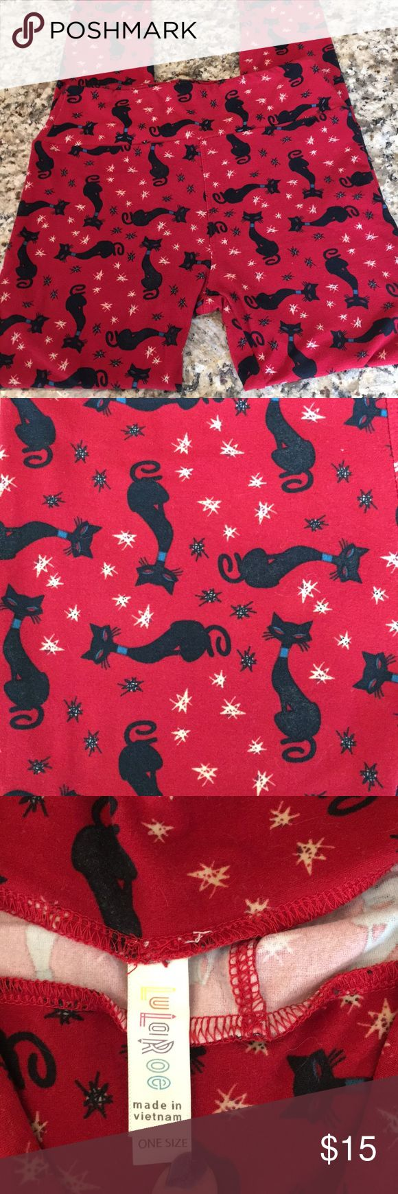 Lularoe Cat Leggings OS Used Lularoe Cat Leggings.. background is red with black Egyptian cats OS.. slight fade in black noted on some cats from washing LuLaRoe Other